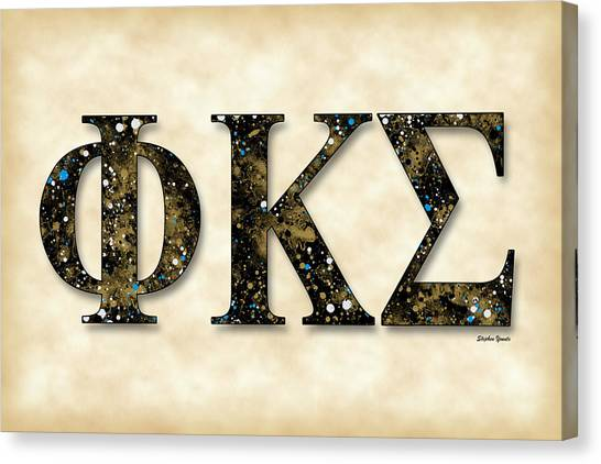 Kappa Sigma Canvas Print - Phi Kappa Sigma - Parchment by Stephen Younts