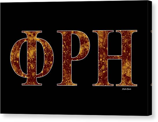 Southern Illinois University Canvas Print - Phi Rho Eta - Black by Stephen Younts