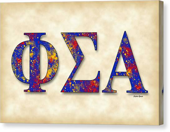 Alpha Phi Canvas Print - Phi Sigma Alpha - Parchment by Stephen Younts