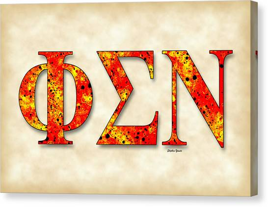 Sigma Nu Canvas Print - Phi Sigma Nu - Parchment by Stephen Younts