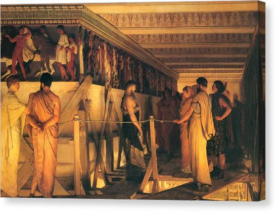 The Parthenon Canvas Print - Phidias Showing The Frieze Of The Parthenon To His Friends by Lawrence Alma-Tadema