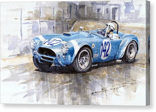 Sports Cars Canvas Print - Phil Hill Ac Cobra-ford Targa Florio 1964 by Yuriy Shevchuk