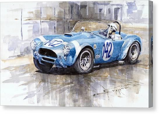 Automotive Art Canvas Print - Phil Hill Ac Cobra-ford Targa Florio 1964 by Yuriy Shevchuk