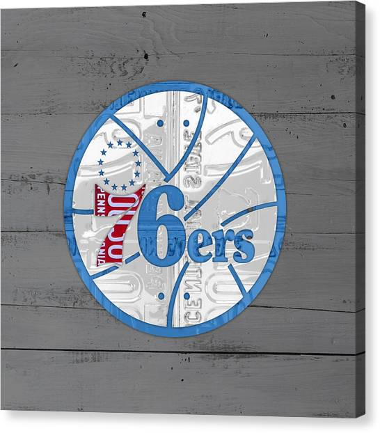 Basketball Teams Canvas Print - Philadelphia 76ers Basketball Team Retro Logo Vintage Recycled Pennsylvania License Plate Art by Design Turnpike