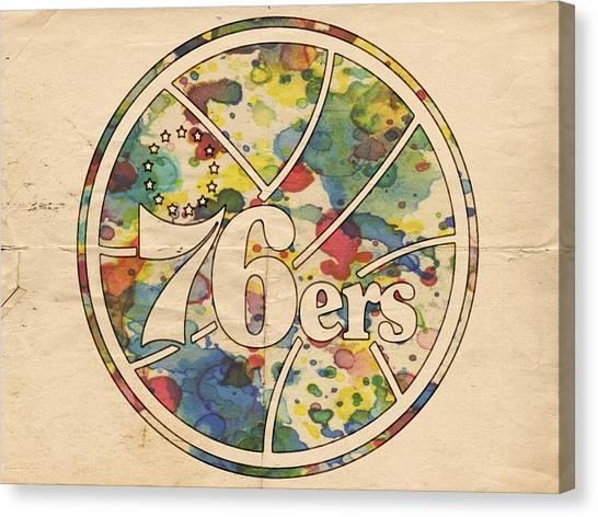 Philadelphia Sixers Canvas Print - Philadelphia 76ers Retro Poster by Florian Rodarte