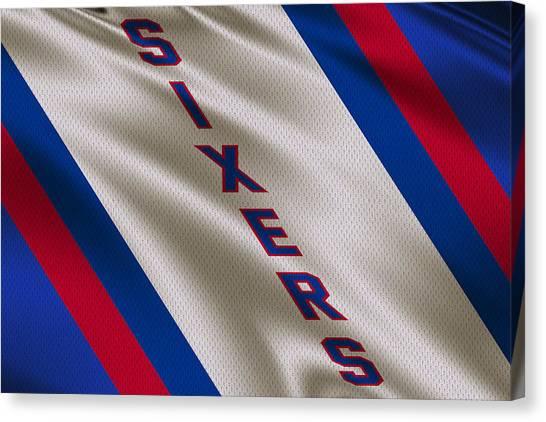 Philadelphia Sixers Canvas Print - Philadelphia 76ers Uniform by Joe Hamilton