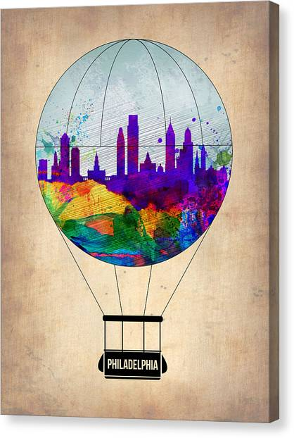 Philadelphia Canvas Print - Philadelphia Air Balloon by Naxart Studio