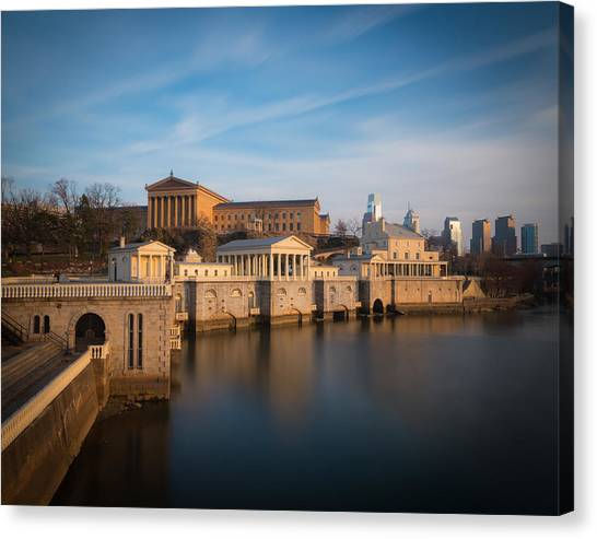 Philadelphia Art Museum And Waterworks Canvas Print by Aaron Couture