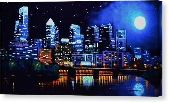 Philadelphia Black Light Canvas Print