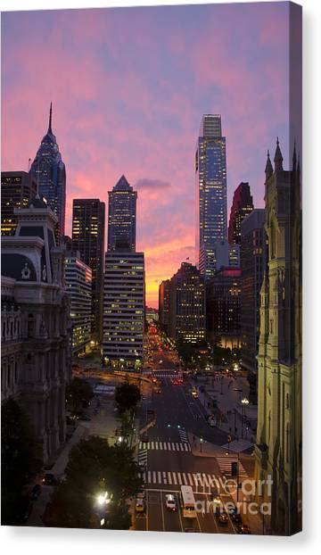 Philadelphia City Center At Sunset Canvas Print