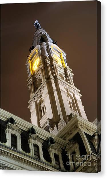 Philadelphia City Hall Clock Tower At Night Canvas Print