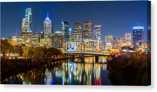 Philadelphia Cityscape Panorama By Night Canvas Print