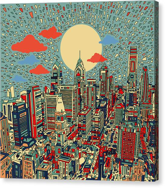 Philadelphia Skyline Canvas Print - Philadelphia Dream 2 by Bekim Art