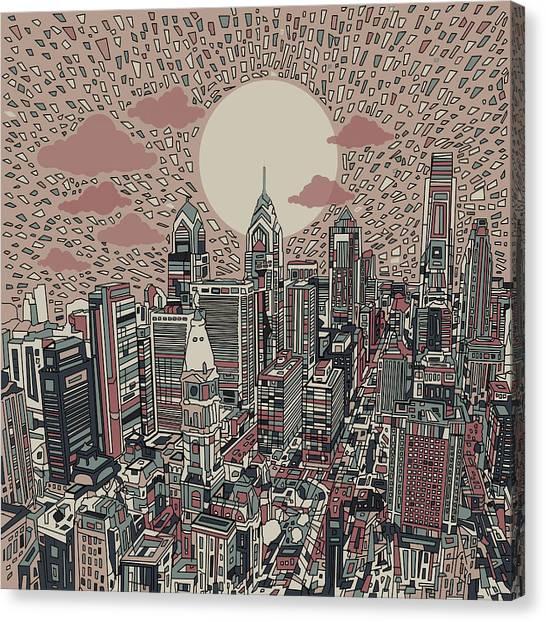 Philadelphia Skyline Canvas Print - Philadelphia Dream 3 by Bekim Art