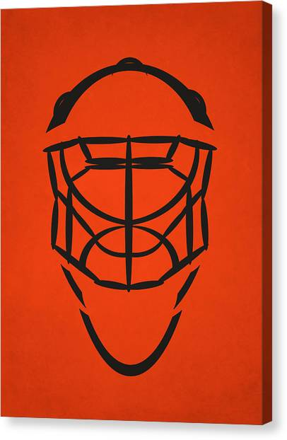 Philadelphia Flyers Canvas Print - Philadelphia Flyers Goalie Mask by Joe Hamilton
