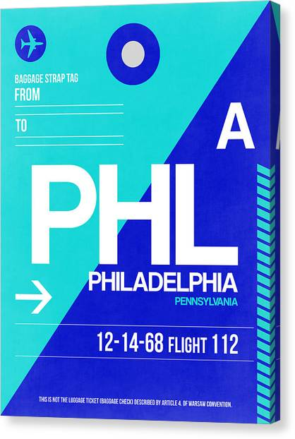 Philadelphia Canvas Print - Philadelphia Luggage Poster 1 by Naxart Studio