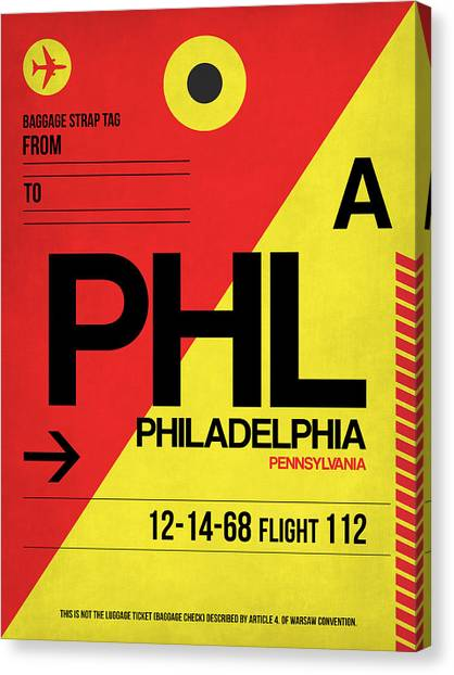 Philadelphia Canvas Print - Philadelphia Luggage Poster 2 by Naxart Studio