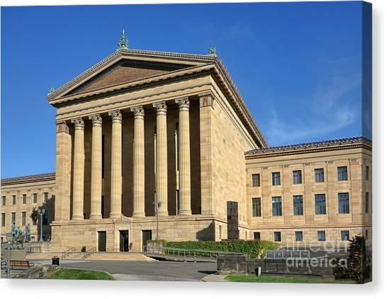 Philadelphia Phillies Canvas Print - Philadelphia Museum Of Art Rear Facade by Olivier Le Queinec
