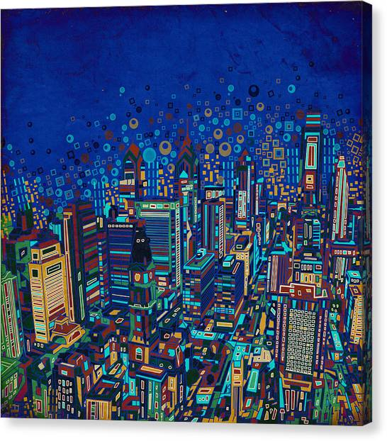 Philadelphia Skyline Canvas Print - Philadelphia Panorama Pop Art 2 by Bekim Art