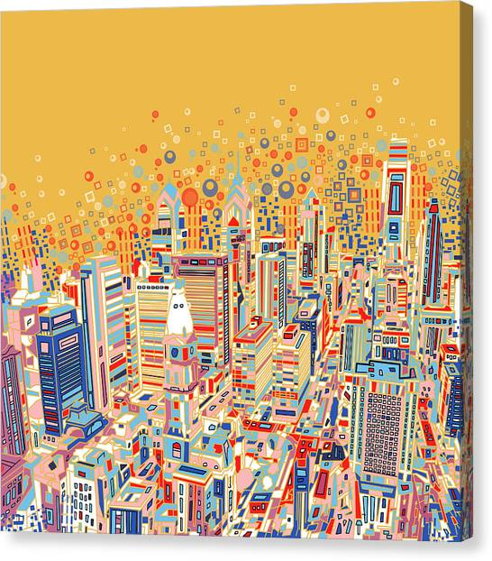 Philadelphia Skyline Canvas Print - Philadelphia Panorama Pop Art by Bekim Art