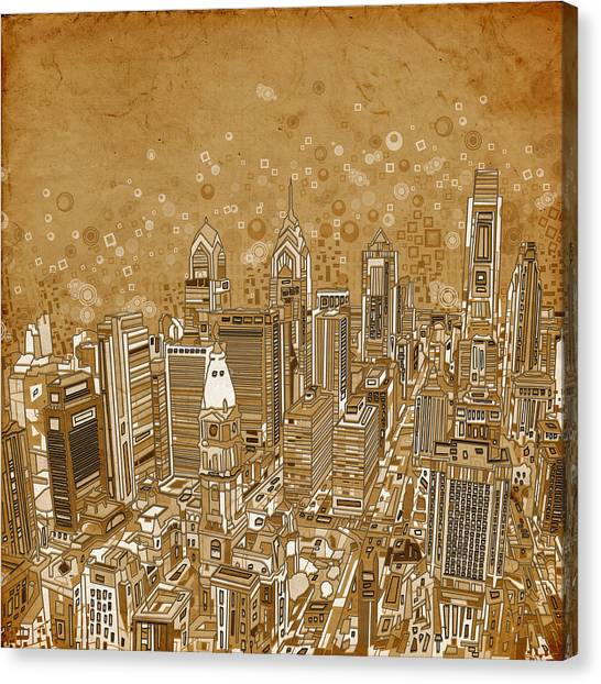 Philadelphia Skyline Canvas Print - Philadelphia Panorama Vintage by Bekim Art