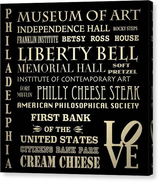 Philadelphia Pennsylvania Famous Landmarks Canvas Print