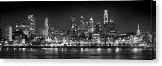 Philadelphia Skyline Canvas Print - Philadelphia Philly Skyline At Night From East Black And White Bw by Jon Holiday