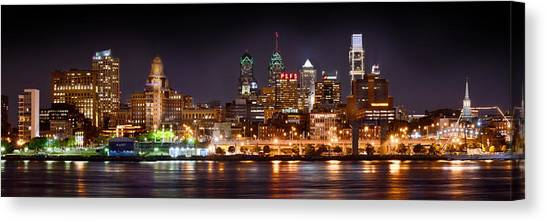Philadelphia Skyline Canvas Print - Philadelphia Philly Skyline At Night From East Color by Jon Holiday