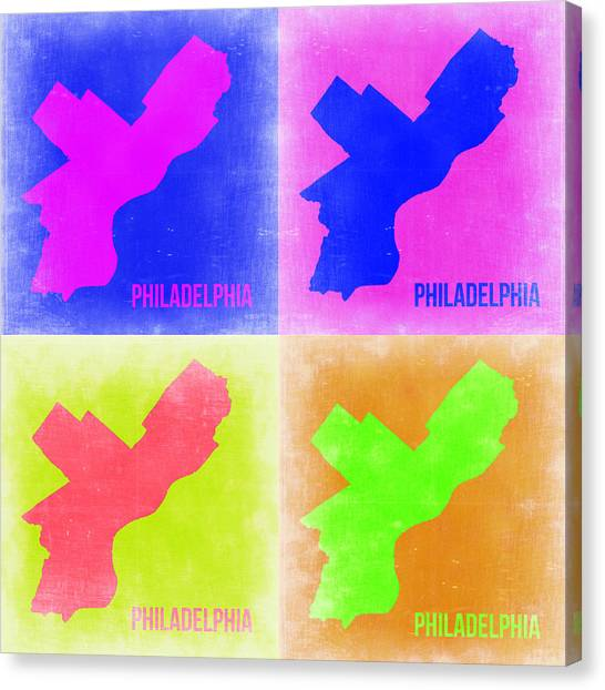 Philadelphia Canvas Print - Philadelphia Pop Art Map 2 by Naxart Studio