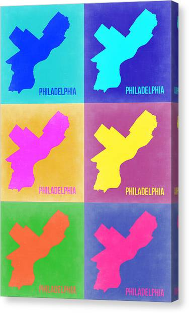 Pennsylvania Canvas Print - Philadelphia Pop Art Map 3 by Naxart Studio