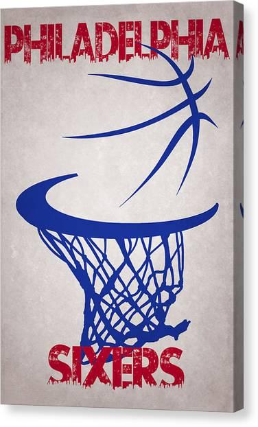 Philadelphia Sixers Canvas Print - Philadelphia Sixers Hoop by Joe Hamilton