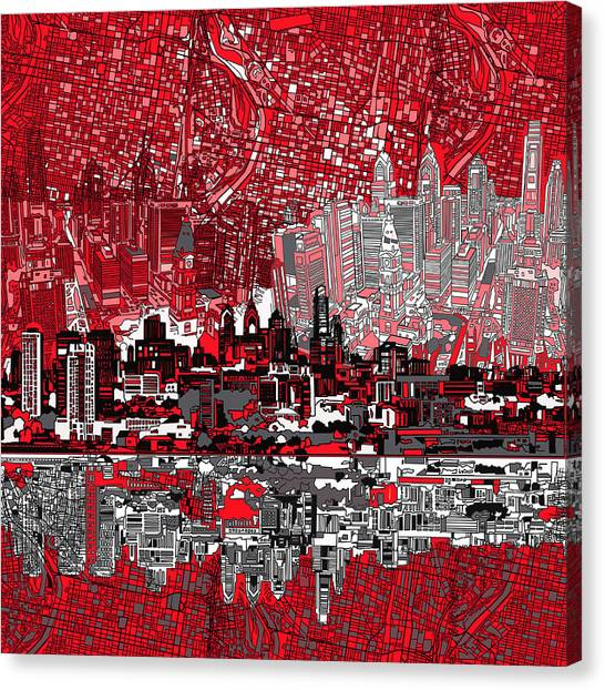 Philadelphia Skyline Canvas Print - Philadelphia Skyline Abstract 4 by Bekim Art