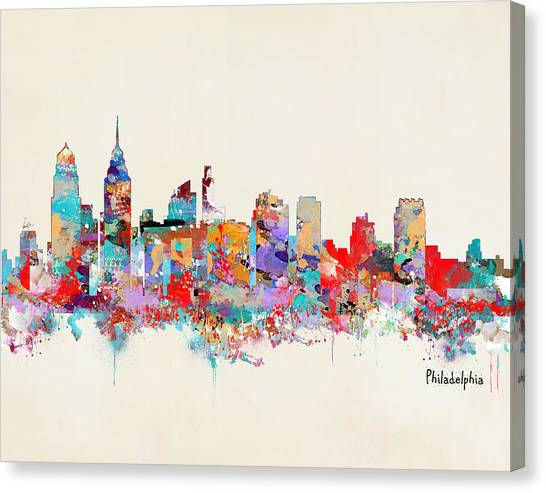 Philadelphia Skyline Canvas Print - Philadelphia Skyline by Bleu Bri