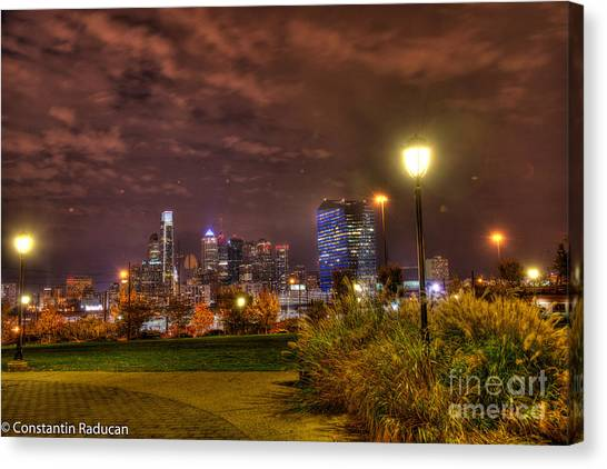 Drexel University Canvas Print - Philadelphia  Skyline From Drexel University Park by Constantin Raducan