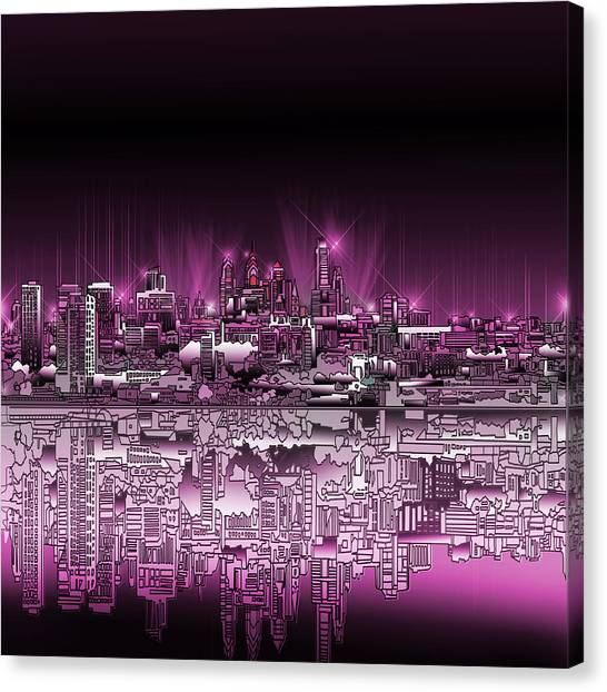 Philadelphia Skyline Canvas Print - Philadelphia Skyline  Gradient 2 by Bekim Art