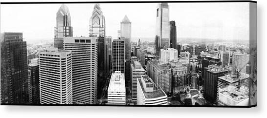 Baseball Teams Canvas Print - Philadelphia Skyline In Black And White by Philip Grant