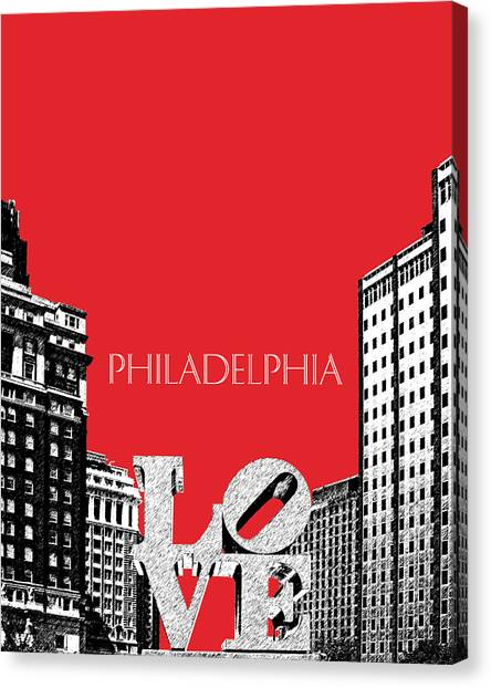 Philadelphia Skyline Canvas Print - Philadelphia Skyline Love Park - Red by DB Artist