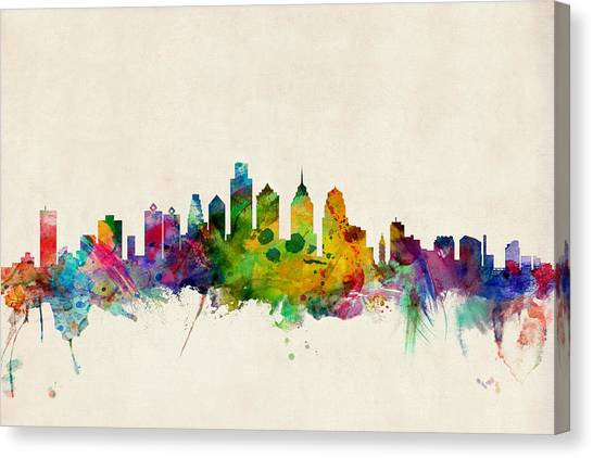 Philadelphia Canvas Print - Philadelphia Skyline by Michael Tompsett