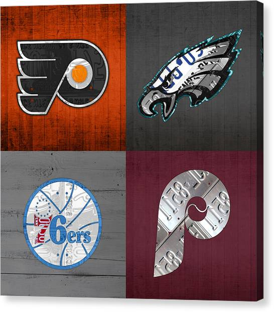 Philadelphia Canvas Print - Philadelphia Sports Fan Recycled Vintage Pennsylvania License Plate Art Flyers Eagles 76ers Phillies by Design Turnpike
