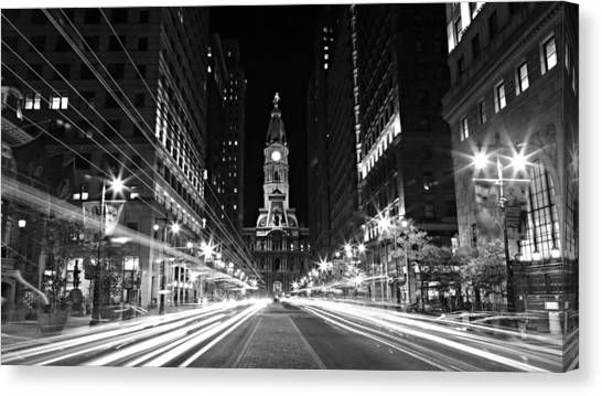 Philadephia City Hall -- Black And White Canvas Print