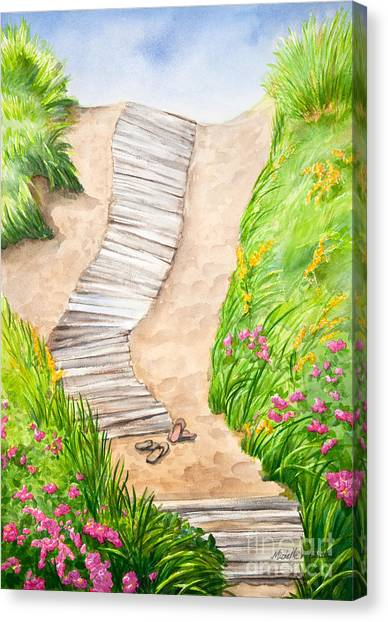 Marthas Vineyard Canvas Print - Philbin Beach Path by Michelle Constantine