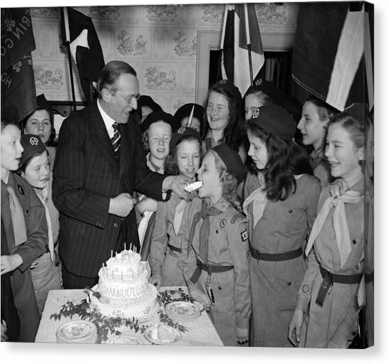 Girl Scouts Canvas Print - Philip Kerr And Girl Scouts by Granger