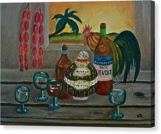 Philippine Still Life With Basi And Rooster Canvas Print