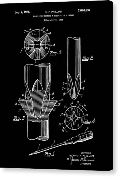 Drywall Canvas Print - Phillips Screwdriver Patent 1934 - Black by Stephen Younts