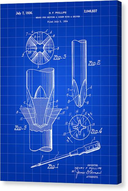 Drywall Canvas Print - Phillips Screwdriver Patent 1934 - Blue by Stephen Younts