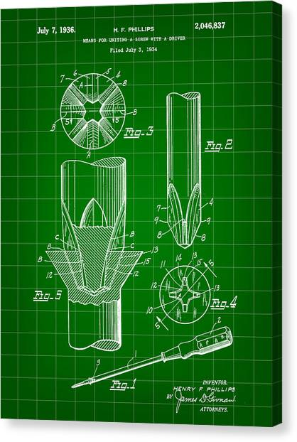 Drywall Canvas Print - Phillips Screwdriver Patent 1934 - Green by Stephen Younts