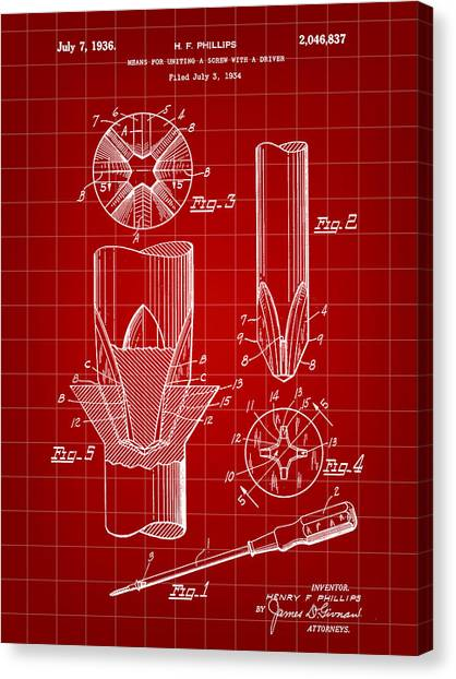 Drywall Canvas Print - Phillips Screwdriver Patent 1934 - Red by Stephen Younts