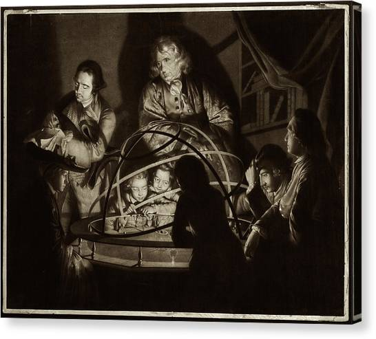 Philosopher Giving Lecture On The Orrery Canvas Print by Museum Of The History Of Science/oxford University Images