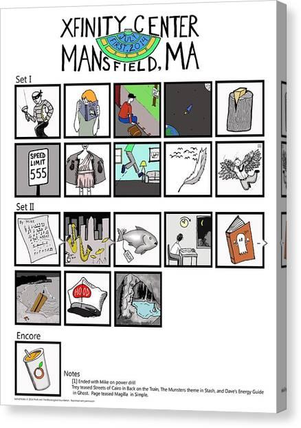 Phish 7/1/14 Mansfield Illustrated Setlist Canvas Print