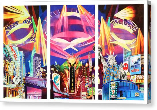 Phish New York For New Years Triptych Canvas Print